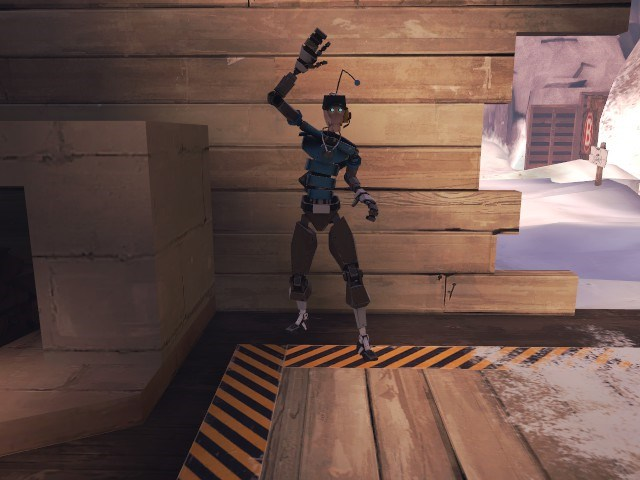 Picture of a Robot Scout doing the high-five taunt.